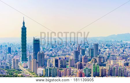 Panoramic view of Taipei downtown Xinyi district architecture