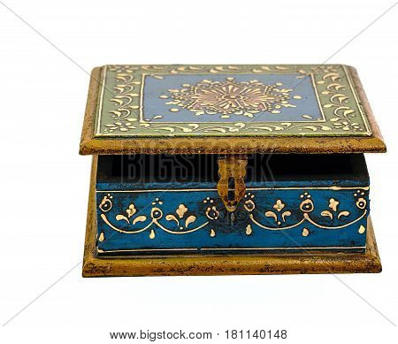 Vintage wooden blue casket from India isolated on white