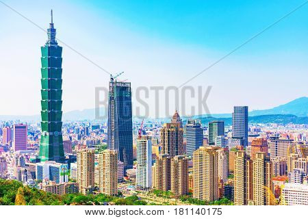 TAIPEI TAIWAN - MARCH 24: This is a view of Xinyi financial district and the Taipei 101 building taken from Elephant mountain on March 24 2017 in Taipei