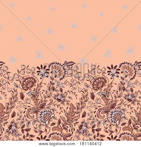 Vector seamless vertical pattern with Decorative pink beige flowers and butterfly ornament on pastel pink background, hand drawn texture for clothes, bedclothes, invitation, card design etc.