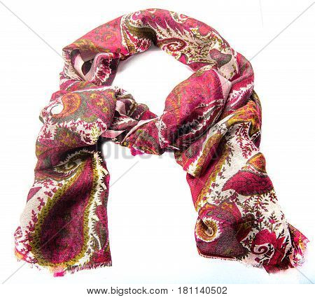 Colorful motley scarf of linen and silk isolated on white