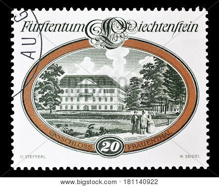 LIECHTENSTEIN - CIRCA 1977 : Cancelled postage stamp printed by Liechtenstein, that shows Castle.