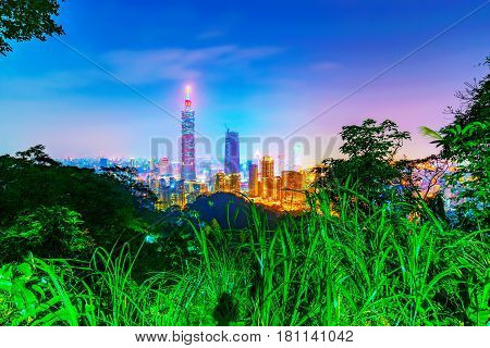 View of Taipei from Elephant mountain at night