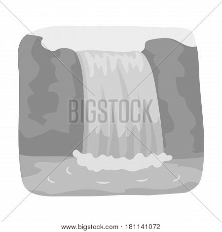 Canadian waterfall. Canada single icon in monochrome style vector symbol stock illustration .