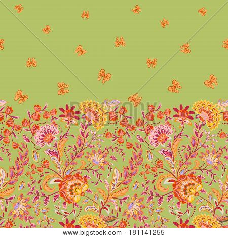 Vector seamless vertical pattern with Decorative pink orange flowers and butterfly ornament on pastel green background, hand drawn texture for clothes, bedclothes, invitation, card design etc.