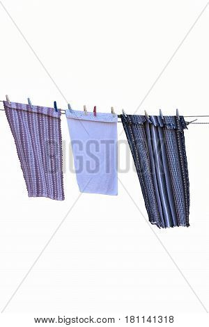 isolated hanging cloth for dry on white background