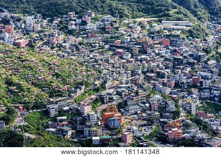 Aerial view of Hillside houses and architecture in Jiufen town Taiwan