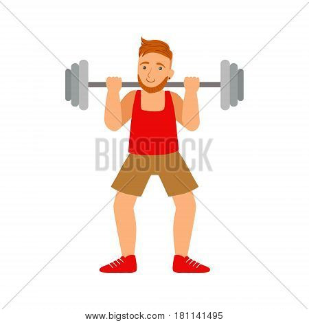 Male bodybuilder exercising with a barbell. Active sport lifestyle. Colorful cartoon character isolated on a white background