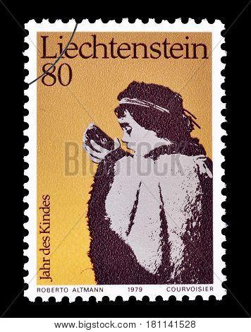 LIECHTENSTEIN - CIRCA 1979 : Cancelled postage stamp printed by Liechtenstein, that shows Child drinking water.