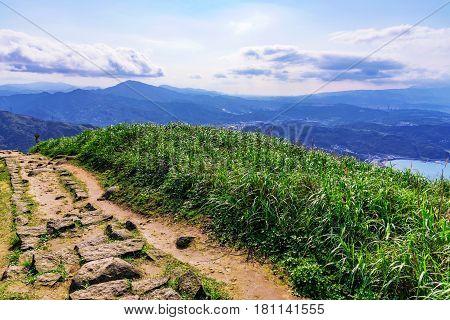 Jilong mountain path view in Jiufen Taiwan