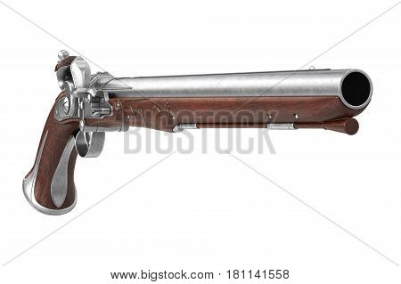 Pistol gun antique historical firearm. 3D rendering