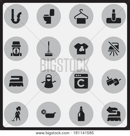 Set Of 16 Editable Hygiene Icons. Includes Symbols Such As Kitchen Clothing, Hoover, Laundress And More. Can Be Used For Web, Mobile, UI And Infographic Design.