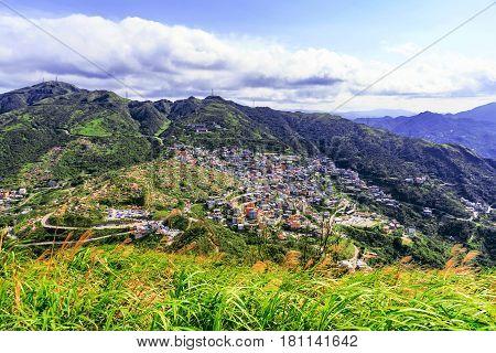 View of Jiufen town from Jilong mountain in Taiwan
