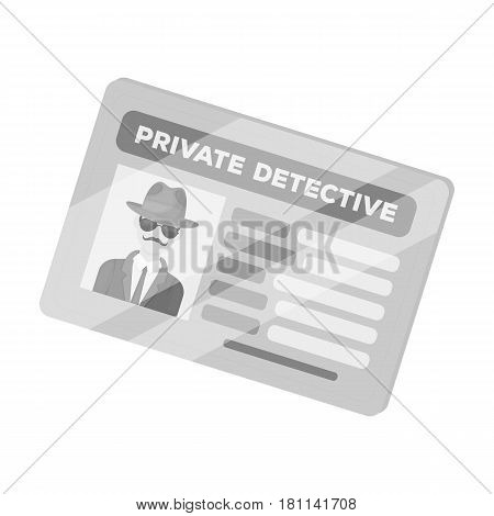 Documents of a private detective. Card that shows the personality of the detective.Detective single icon in monochrome style vector symbol stock web illustration.