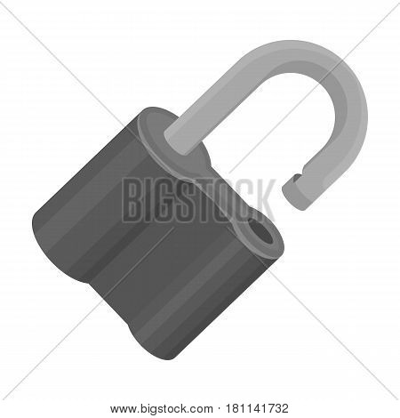 Padlock hacked. The challenge for the Pathfinder to solve the crime.Detective single icon in monochrome style vector symbol stock web illustration.