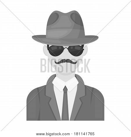 Man in hat suit raincoat and glasses. The detective undercover.Detective single icon in monochrome style vector symbol stock web illustration.