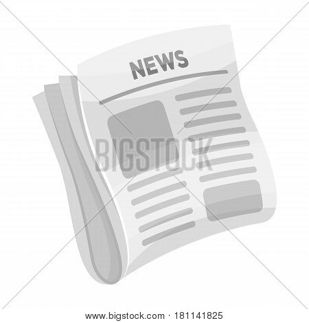 Newspaper, news.Paper, for the cover of a detective who is investigating the case.Detective single icon in monochrome style vector symbol stock web illustration.