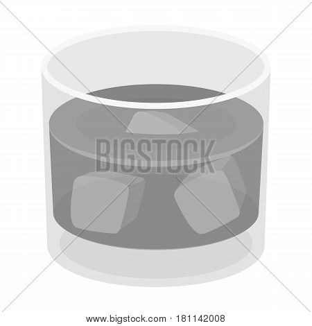 Glass glass of whiskey with ice. Alcoholic beverage of the detective.Detective single icon in monochrome style vector symbol stock web illustration.