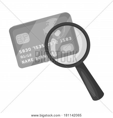 Plastic credit card with a magnifying glass. Detective looking for fingerprints.Detective single icon in monochrome style vector symbol stock web illustration.
