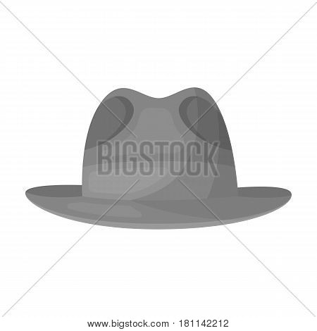 Brown hat with a brim. Headdress investigator for cover.Detective single icon in monochrome style vector symbol stock web illustration.