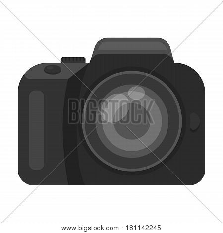 Camera detective. Camera, for shooting the scene, and to commit murder.Detective single icon in monochrome style vector symbol stock web illustration.