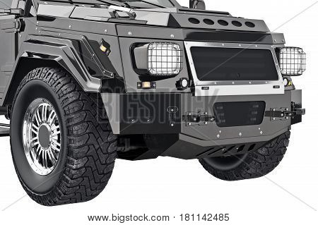 Car crossover front bumper, close view. 3D rendering