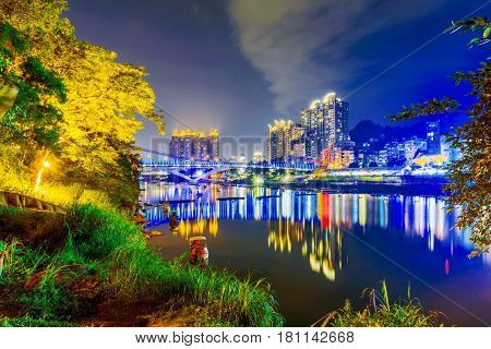 River view of Xindian in Taipei at night