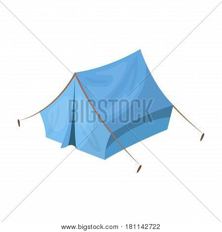 Blue tent with pegs.Hippy single icon in cartoon style vector symbol stock illustration .
