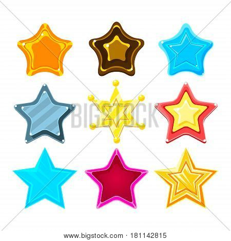 Five-Point Colorful Cartoon Star Set For Flash Video Game Rewards , Bonuses And Stickers. Bright Color Glossy Pentagram Shapes Isolated Vector Design Template Icons.