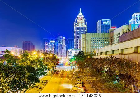 TAIPEI TAIWAN - FEBRUARY 16: This is a night view of Xinyi financial district architecture in central Taipei on Februrary 16 2017 in Taipei