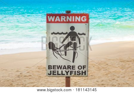 Jellyfish warning sign at  beach