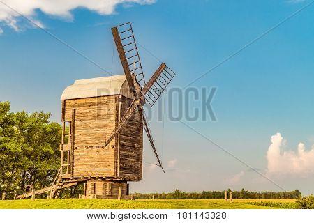 Large Russian wooden mill. Belgorod region. Summer rural scene.
