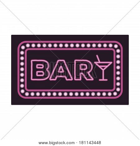 Advertising bar. The sign in front of the bar with pink lettering. Pub single icon in cartoon style vector symbol stock web illustration.