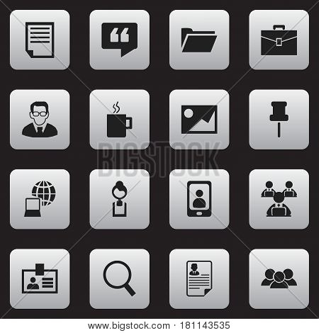 Set Of 16 Editable Bureau Icons. Includes Symbols Such As Worker With Laptop, World, Comment And More. Can Be Used For Web, Mobile, UI And Infographic Design.