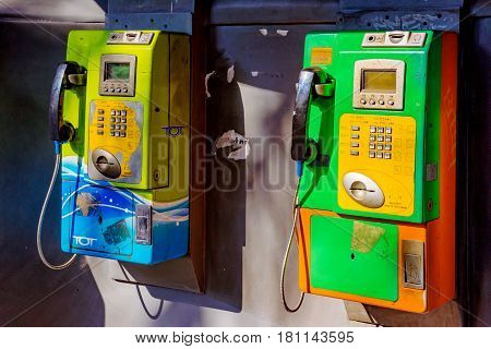 BANGKOK THAILAND - FEBRUARY 07: This is a public phone booth where people can pay to use the phone in Bangkok February 07 2017 in Bangkok