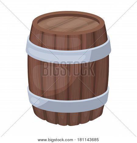 Oak barrel beer. A barrel in which beer is brewed. Pub single icon in cartoon style vector symbol stock web illustration.