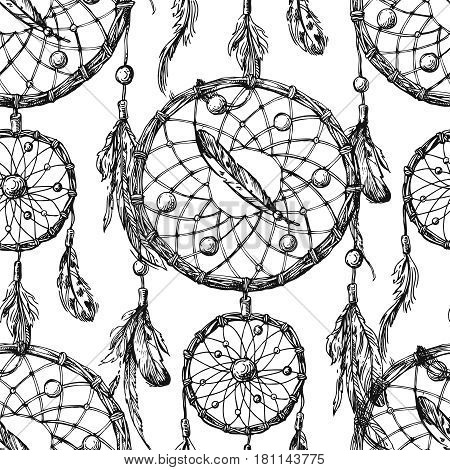 Beautiful hand drawn vector boho style illustration of dreamcatcher. Use for postcards, print for t-shirts, posters, wedding invitation, tissue, linens