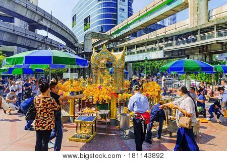 BANGKOK THAILAND - FEBRUARY 07: This is Erawan shrine a famous buddhist shrine in the downtown area of Bangkok February 07 2017 in Bangkok