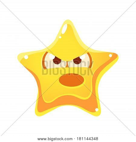Yellow star with emotional face angry and screaming, cartoon character isolated on a white background