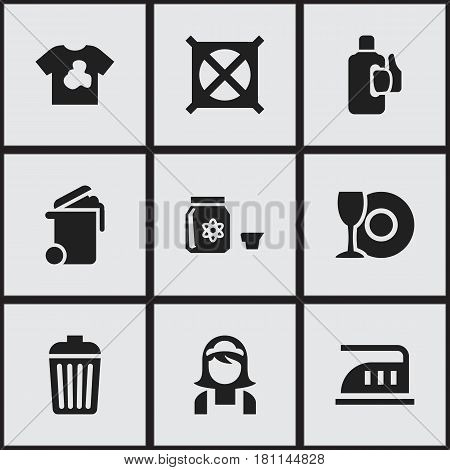 Set Of 9 Editable Dry-Cleaning Icons. Includes Symbols Such As Bleach, Container, Plate And More. Can Be Used For Web, Mobile, UI And Infographic Design.