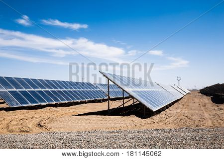 solar power station in the field by drone
