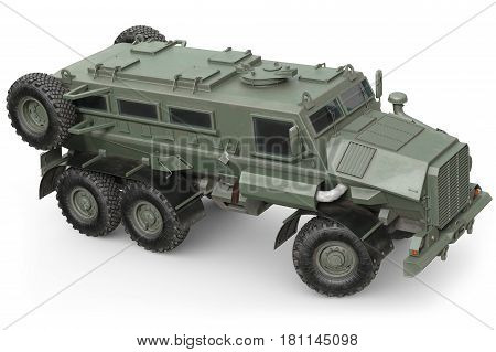 Truck military army vehicle. 3D rendering