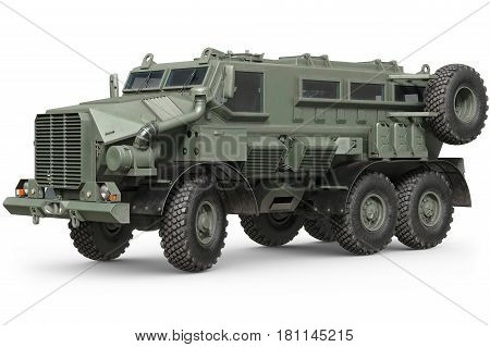 Truck military green armored car transportation. 3D rendering