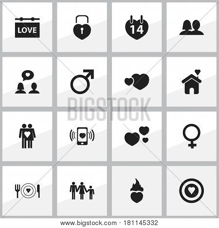Set Of 16 Editable Heart Icons. Includes Symbols Such As Lineage, Dear, Darling And More. Can Be Used For Web, Mobile, UI And Infographic Design.