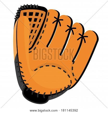 Baseball equipment. Leather softball glove. Flat vector cartoon illustration. Objects isolated on a white background.