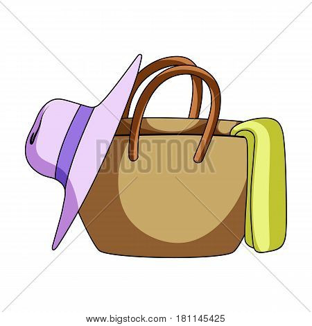 Beach bag with hat.Summer rest single icon in cartoon style vector symbol stock web illustration.