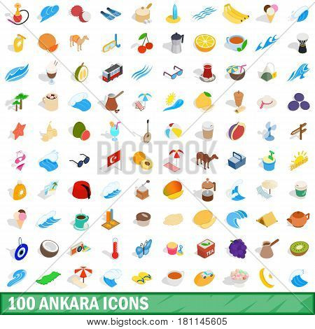 100 ankara icons set in isometric 3d style for any design vector illustration