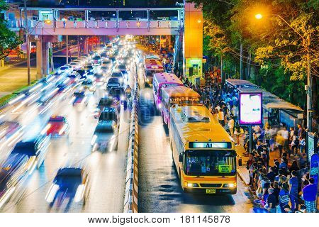 BANGKOK THAILAND - FEBRUARY 04: Busy bus station in the Mo Chit area of Bangkok after the Chatuchak weekend market has closed many people come to this destination to wait for a bus on February 04 2017 in Bangkok