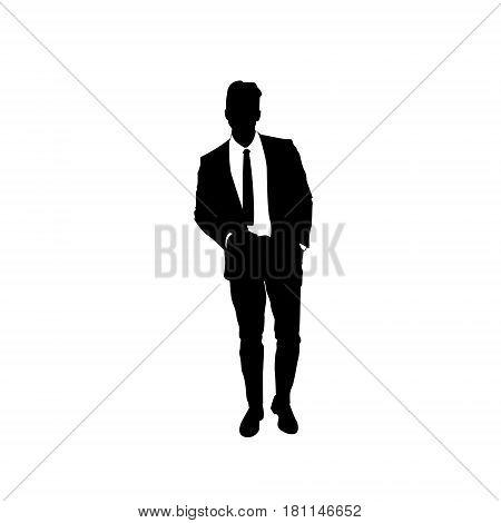 Business Man Black Silhouette Standing Full Length Over White Background Hands In Pocket Flat Vector Illustration