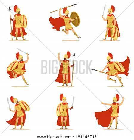 Spartan Soldier In Golden Armor And Red Cape Set Of Vector Illustrations With Greek Military Hero In The Fight. Male Cartoon Character In Ancient Greece War Outfit And Helmet Fighting For Sparta.